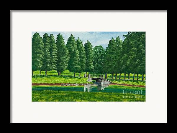 Colgate University Taylor Lake Framed Print featuring the painting The Willow Path by Charlotte Blanchard