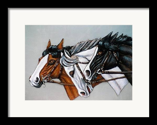 Horses Framed Print featuring the painting The Winner Is. by Lilly King