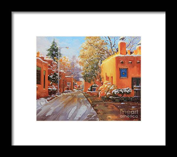 Winter Framed Print featuring the painting The winter beauty of Santa Fe by Gary Kim