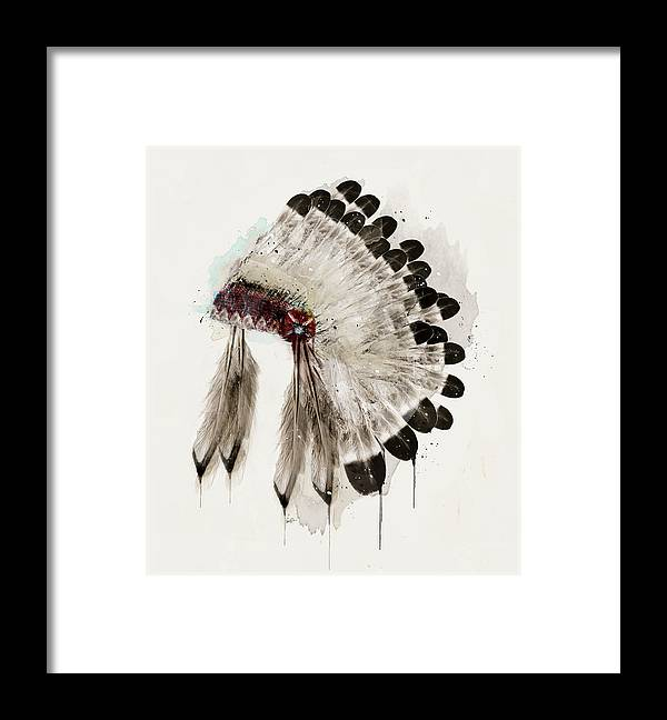 Native Headdress Framed Print featuring the painting The Winter Headdress by Bri Buckley