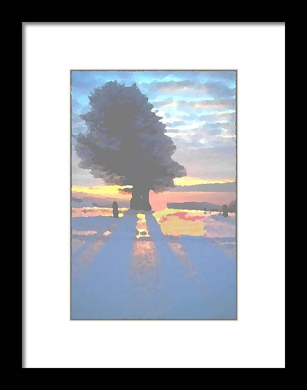 Sky.clouds.winter.sunset.snow.shadow.sunrays.evening Light.tree.far Forest. Framed Print featuring the digital art The Winter Lonely Tree by Dr Loifer Vladimir