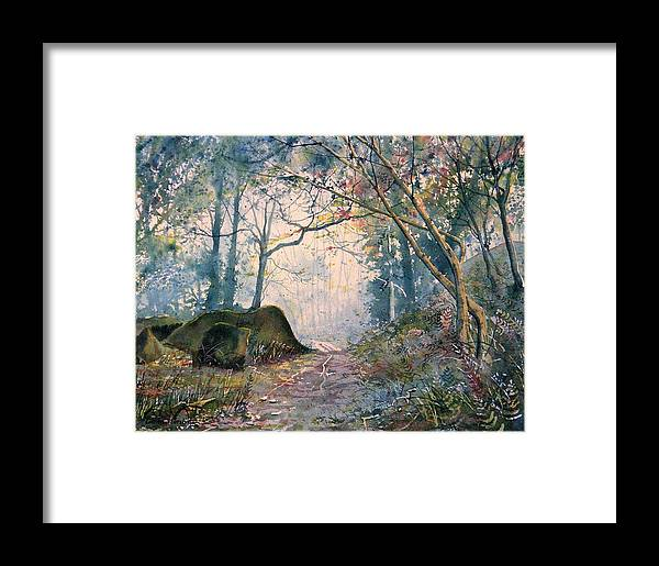Landscape Framed Print featuring the painting The Wishing Stone by Glenn Marshall