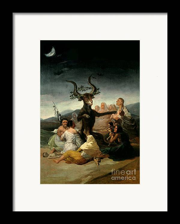 The Framed Print featuring the painting The Witches' Sabbath by Goya