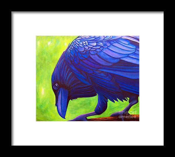 Raven Framed Print featuring the painting The Witness by Brian Commerford