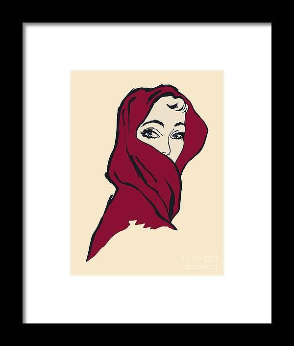 Woman Framed Print featuring the digital art The Woman With The Crimson Veil by Heidi De Leeuw