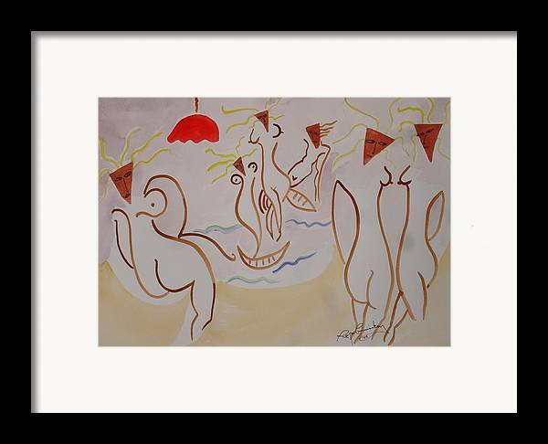 Nude Abstract Irish Ireland Bloomsday Framed Print featuring the painting The Women Of Dublin by Roger Cummiskey
