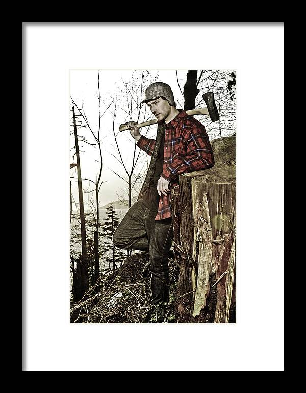 Male Model Framed Print featuring the photograph The Woodsman by Graham Vickers