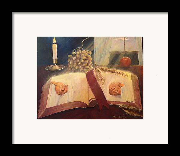 Contemporary Framed Print featuring the painting The Word Made Flesh by Renee Dumont Museum Quality Oil Paintings Dumont
