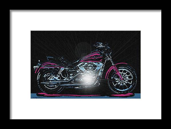 Motorcycle Framed Print featuring the painting The Work Horse by Wayne Bonney