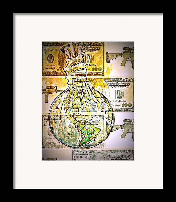 The World Is Money Framed Print featuring the digital art The World Is Money by Paulo Zerbato