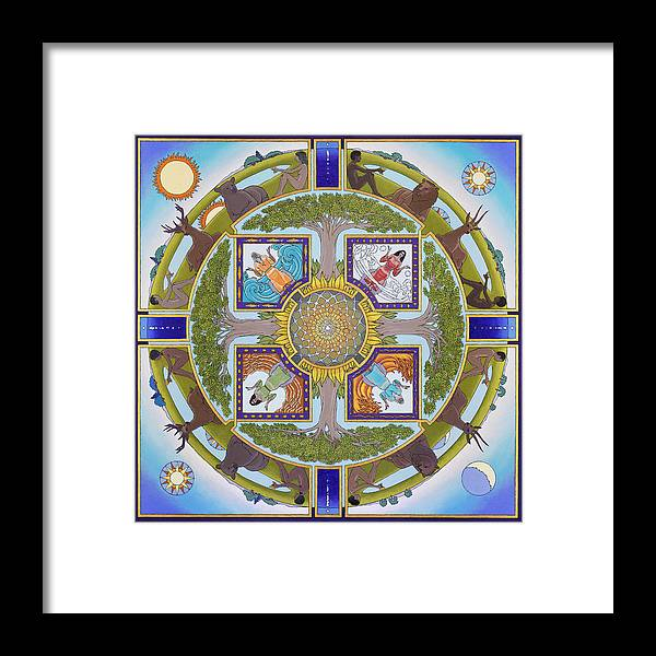 Mandala Framed Print featuring the painting The World Opens Out From Its Center Like A Flower by Jonathan Day
