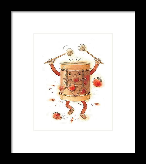 Drum Music Rock Beat Framed Print featuring the painting The worst musician by Kestutis Kasparavicius