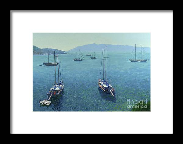 Yachts Framed Print featuring the painting The Yachts by Simon Kozhin