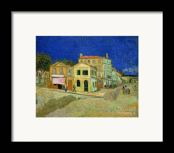 The Framed Print featuring the painting The Yellow House by Vincent Van Gogh