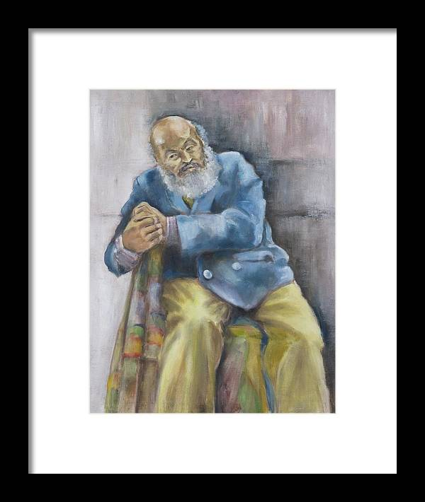 Portrait Framed Print featuring the painting The Yellow Pants by Victoria Shea