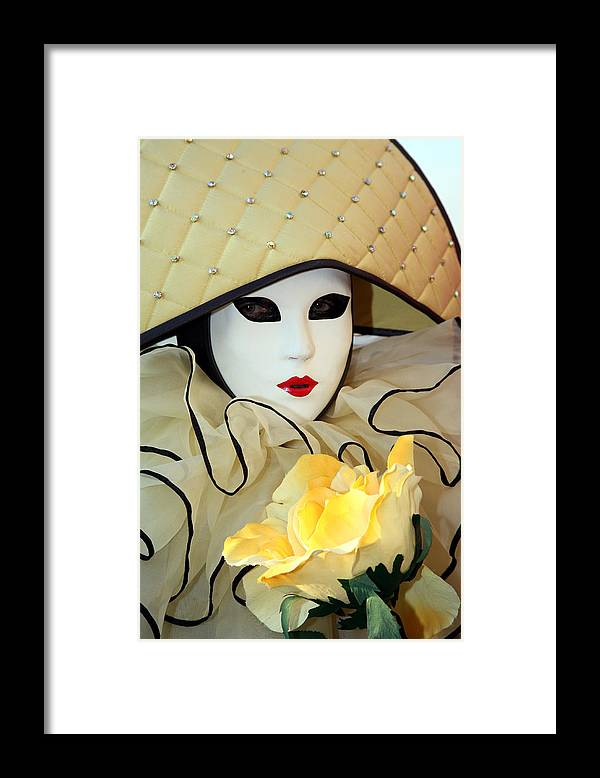 Venice Carnival Framed Print featuring the photograph The Yellow Rose by Donna Corless