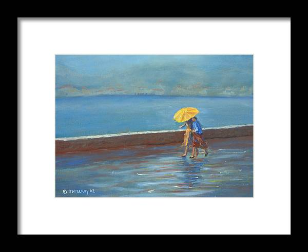 Rain Framed Print featuring the painting The Yellow Umbrella by Jerry McElroy