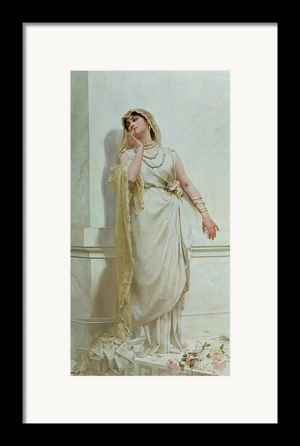 The Framed Print featuring the painting The Young Bride by Alcide Theophile Robaudi