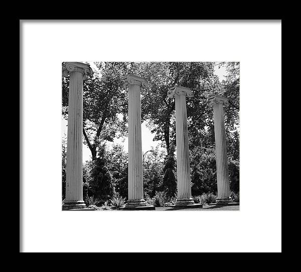 Architecture Framed Print featuring the photograph Theatre Columns by Sonja Anderson