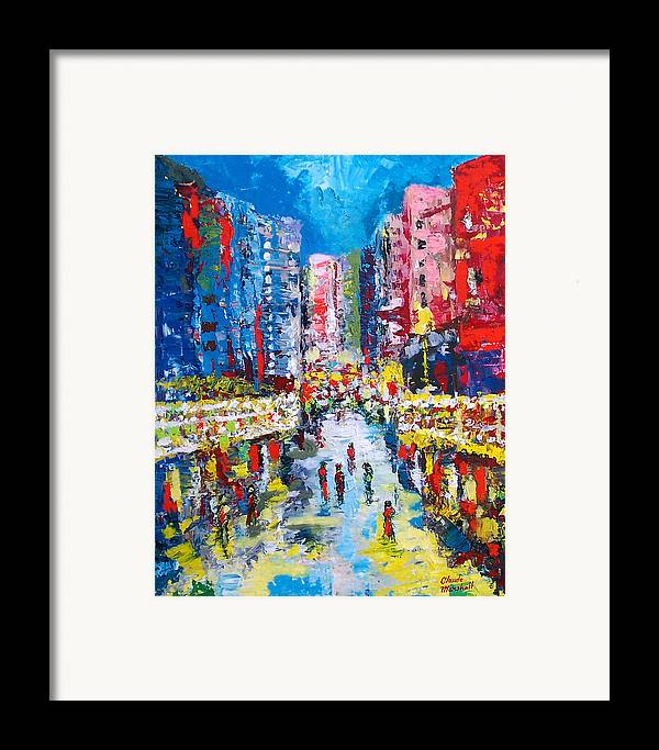Abstract Framed Print featuring the painting Theatre Street by Claude Marshall