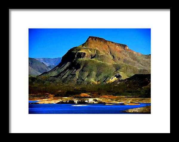 Theodore Roosevelt Framed Print featuring the painting Theodore Roosevelt Lake Arizona by Bob and Nadine Johnston