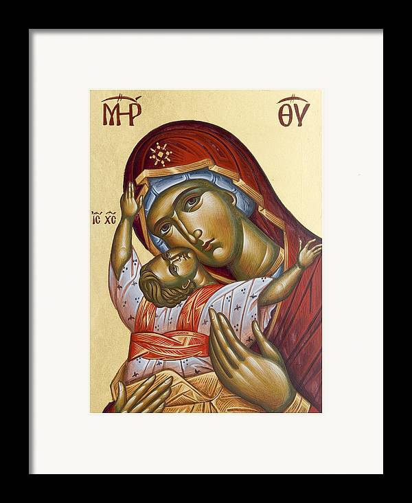 Icon Framed Print featuring the painting Theotokos Kardiotissa I by Julia Bridget Hayes