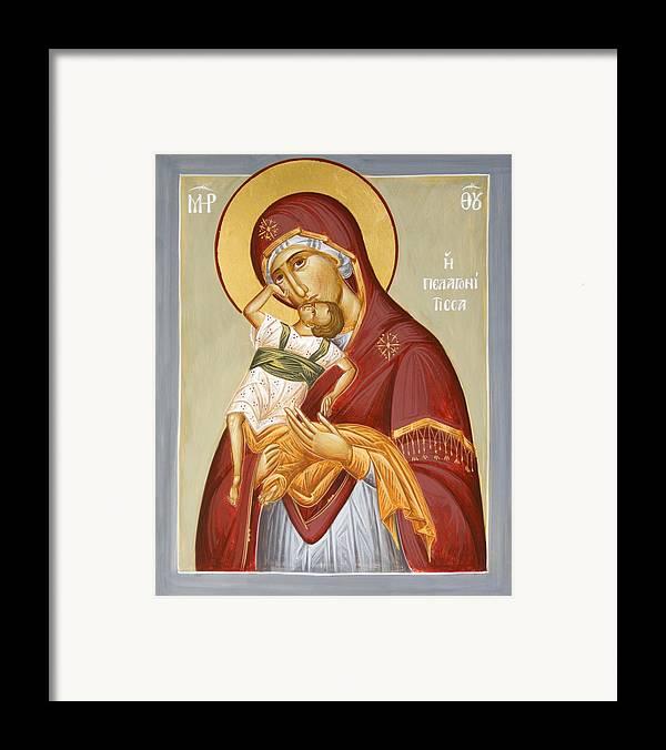 Theotokos Pelagonitisa Framed Print featuring the painting Theotokos Pelagonitisa by Julia Bridget Hayes