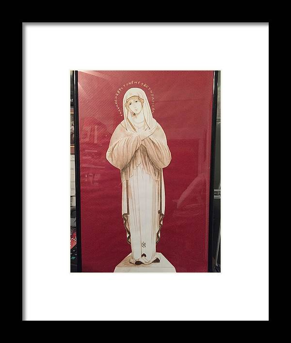Virgen Mary Framed Print featuring the drawing Theotokos by Yolanda Bello