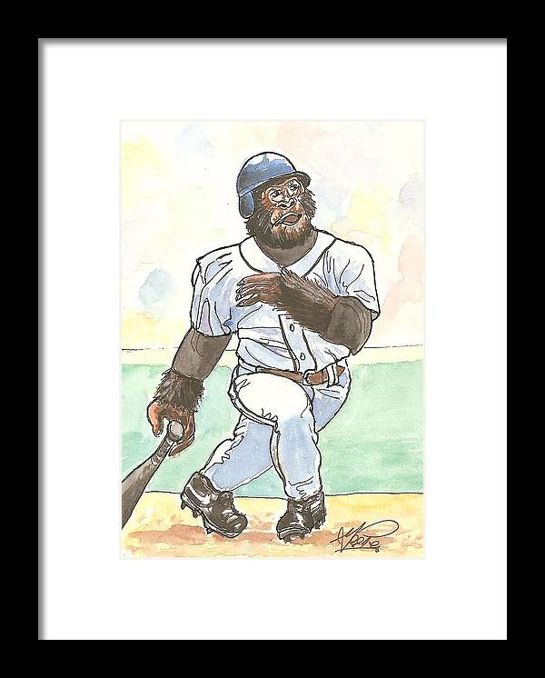 Baseball Framed Print featuring the painting There It Is by George I Perez