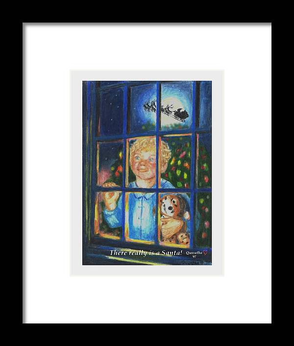 Santa Framed Print featuring the drawing There Really is a Santa by Quwatha Valentine