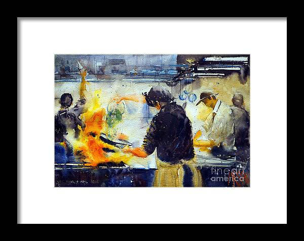 Watercolor Framed Print featuring the painting There's A Rush On by Andre MEHU