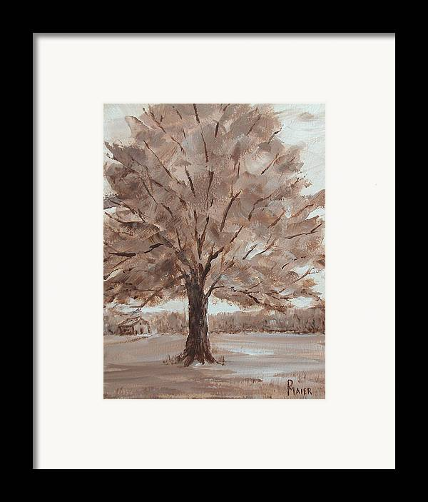 Tree Framed Print featuring the painting There's A Tree by Pete Maier
