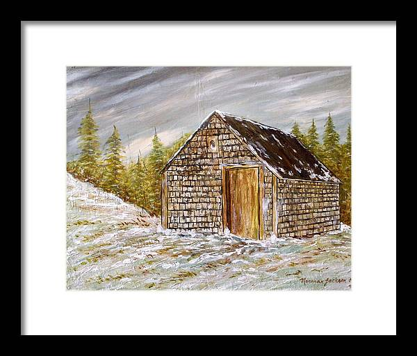 Woodshed Framed Print featuring the painting Thewoodshed by Norman F Jackson