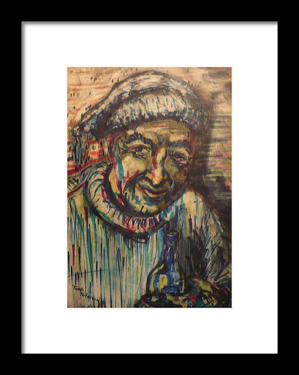 Mixed Media Framed Print featuring the painting They Call Me Honest John by Todd Peterson
