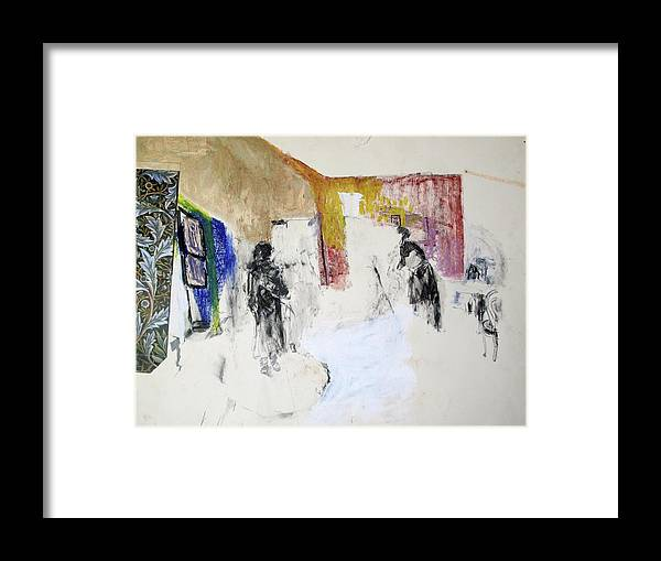 Abstract Influence Framed Print featuring the painting They Did Not Expect Him by Patricia Hoffman