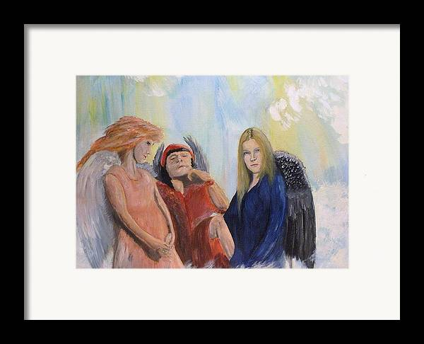 She Wonders Are They Worth It? Framed Print featuring the painting They Talk Of Man by J Bauer