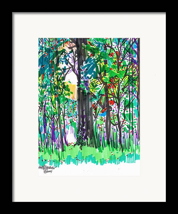 Forest Framed Print featuring the drawing Thicket by Seth Weaver