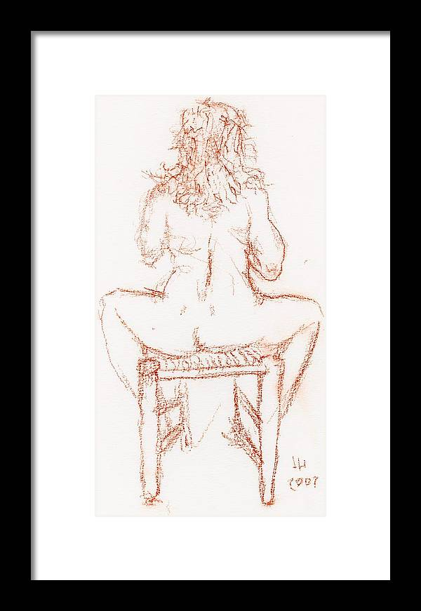 Drawings Framed Print featuring the drawing Thinking Back by Jerry Hanks