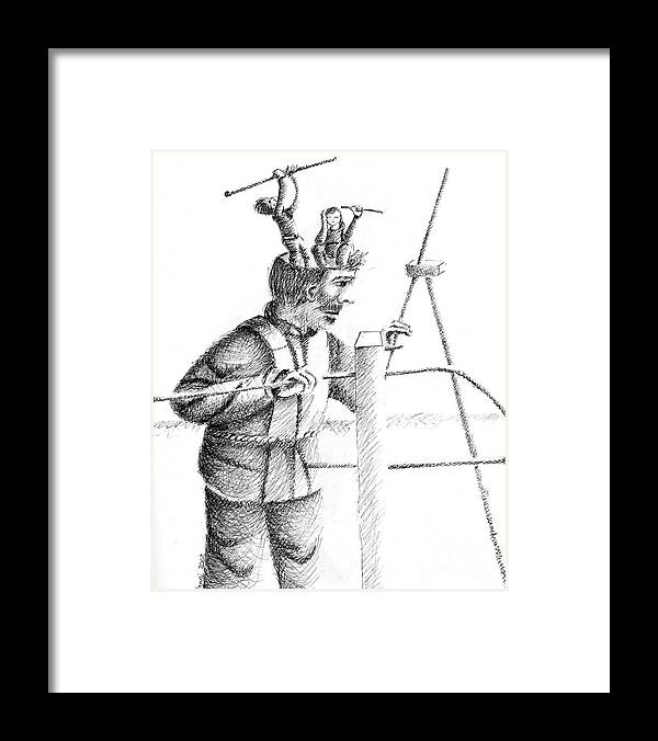Philosophical Thoughts Framed Print featuring the drawing Thinking Is Double Work by Tanni Koens