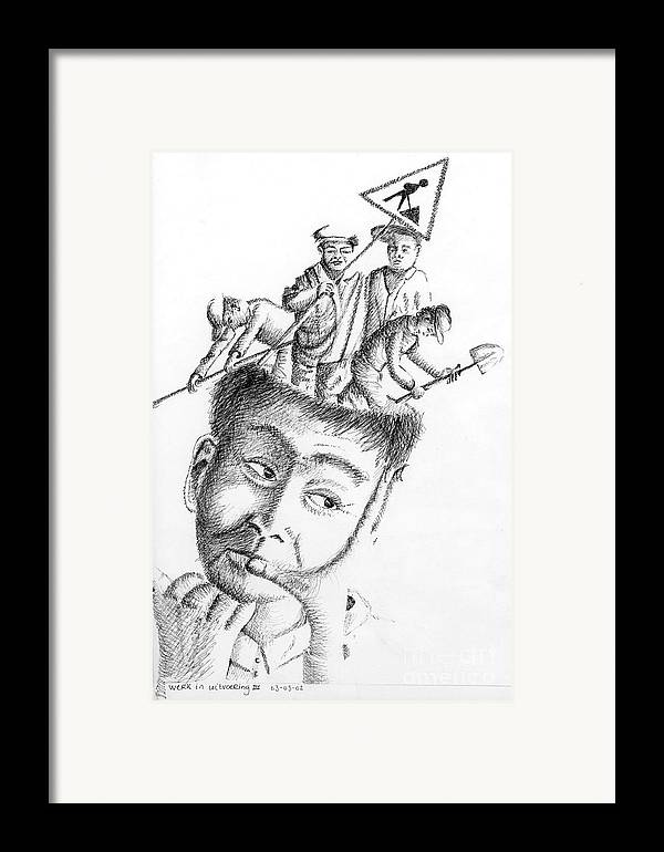 Philosophical Thoughts Framed Print featuring the drawing Thinking Is Working by Tanni Koens