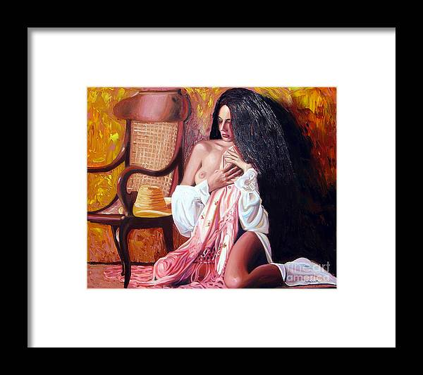 Cuba Framed Print featuring the painting Thinking by Jose Manuel Abraham