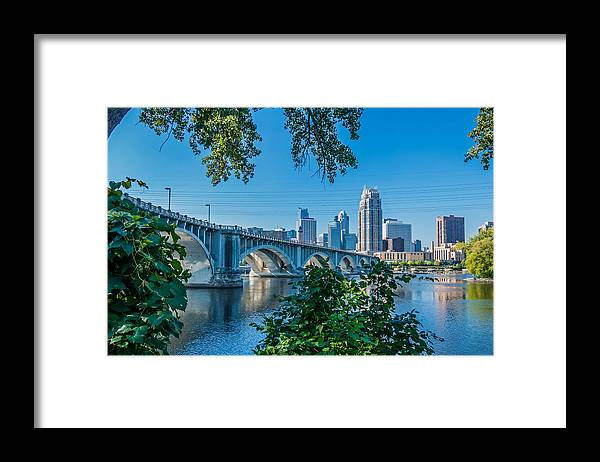 Third Avenue Bridge; Bridge; Mississippi River; St. Anthony Riverplace; Minneapolis Framed Print featuring the photograph Third Avenue Bridge Over Mississippi River by Lonnie Paulson