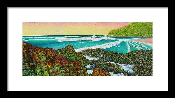 Seascape Framed Print featuring the painting Third Bay Coolum Beach Triptych by Joe Michelli