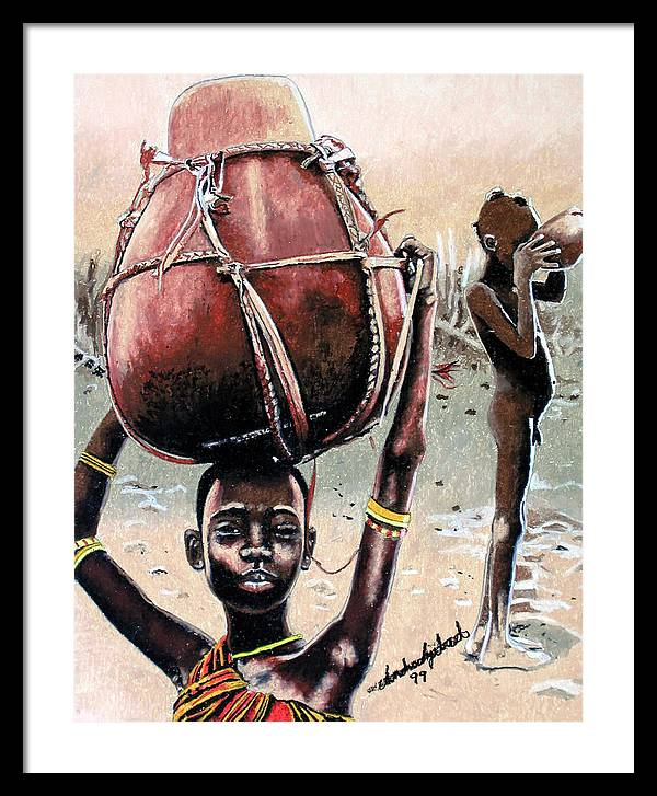 Black Art Framed Print featuring the painting Thirst Quencher by Andre Ajibade