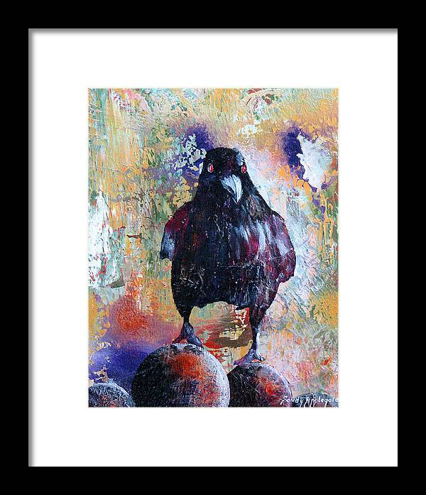Raven Framed Print featuring the painting This Ebony Bird by Sandy Applegate