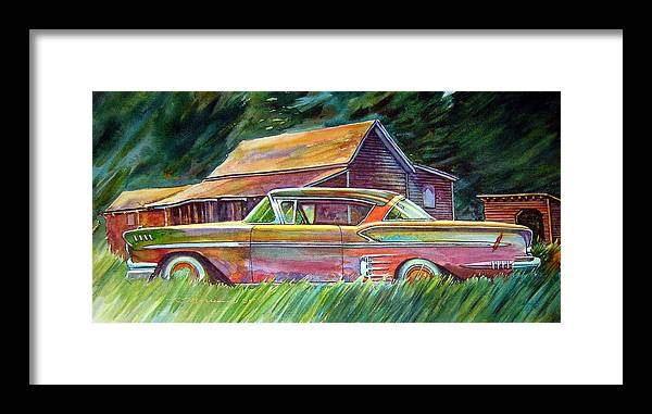 Rusty Car Chev Impala Framed Print featuring the painting This Impala Doesn by Ron Morrison