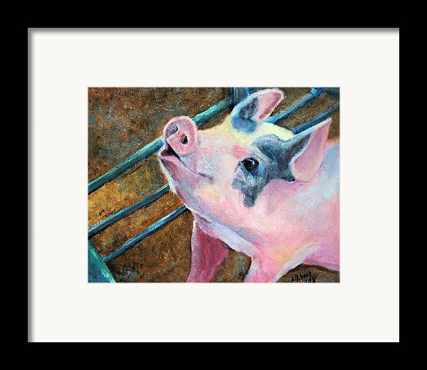 Animals Framed Print featuring the painting This Little Piggy by Stephanie Allison