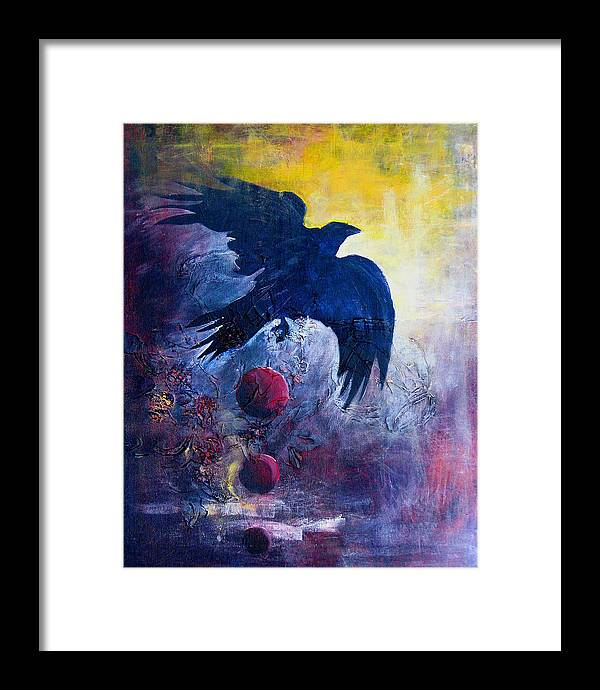 Raven Framed Print featuring the painting This Mystery Explore by Sandy Applegate