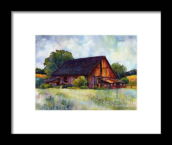 Barn Framed Print featuring the painting This Old Barn by Hailey E Herrera