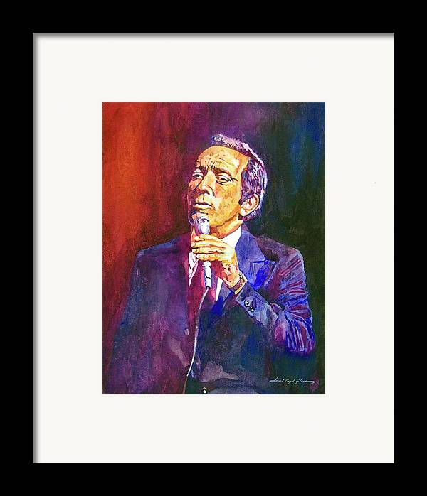 Andy Williams Framed Print featuring the painting This Song Is For You - Andy Williams by David Lloyd Glover